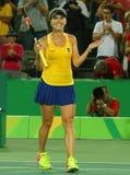 Professional tennis player Elina Svitolina of Ukraine celebrates victory against Serena Williams of USA at round three match Stock Photo