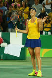 Professional tennis player Elina Svitolina of Ukraine celebrates victory against Serena Williams of USA at round three match  Stock Photos