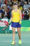 Professional tennis player Elina Svitolina of Ukraine celebrates victory against Serena Williams of USA at round three match Royalty Free Stock Photo