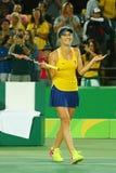 Professional tennis player Elina Svitolina of Ukraine celebrates victory against Serena Williams of USA at round three match Royalty Free Stock Photos