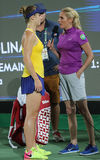 Professional tennis player Elina Svitolina of Ukraine during interview after victory against Serena Williams at round three match Royalty Free Stock Image