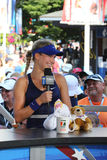 Professional tennis player Eugenie Bouchard during interview with Tennis Channel at US Open 2014 Stock Image