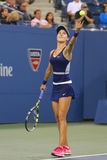 Professional tennis player Eugenie Bouchard during third round march at US Open 2014 Royalty Free Stock Image