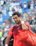 Professional tennis player Fabio Fognini of Italy after his match at US Open 2015 Stock Photography