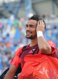 Professional tennis player Fabio Fognini of Italy after his match at US Open 2015 Stock Photos