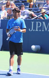 Professional tennis player Fabio Fognini from Italy practices for US Open 2013 Royalty Free Stock Photography