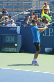 Professional tennis player Fabio Fognini from Italy practices for US Open 2013 Royalty Free Stock Photo