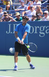 Professional tennis player Fabio Fognini from Italy practices for US Open 2013 Stock Photo