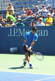 Professional tennis player Fabio Fognini from Italy practices for US Open 2013 Stock Images