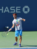 Professional tennis player Fabio Fognini from Italy practices for US Open 2013 Stock Photography