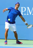 Professional tennis player Fernando Verdasco practices for US Open 2013 at Billie Jean King National Tennis Center Royalty Free Stock Image