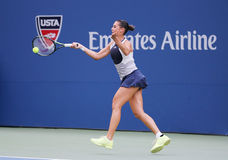Professional tennis player Flavia Pennetta of Italy in action during her quarter final match at US Open 2015 Royalty Free Stock Images