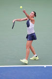 Professional tennis player Flavia Pennetta of Italy in action during her quarter final match at US Open 2015 Stock Photos