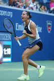 Professional tennis player Flavia Pennetta of Italy celebrates victory after her quarter final  match at US Open 2015 Royalty Free Stock Image