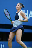 Professional tennis player Flavia Pennetta of Italy celebrates victory after her quarter final  match at US Open 2015 Stock Image