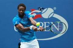 Professional tennis player Gael Monfis of France in action during US Open 2016 quarterfinal match at National Tennis Center Stock Images
