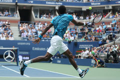 Professional tennis player Gael Monfis of France in action during US Open 2016 quarterfinal match Stock Photos