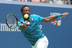 Professional tennis player Gael Monfis of France in action during US Open 2016 quarterfinal match Royalty Free Stock Image