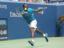 Professional tennis player Gael Monfis of France in action during US Open 2016 quarterfinal match Royalty Free Stock Photos
