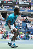 Professional tennis player Gael Monfis of France in action during US Open 2016 quarterfinal match Stock Photography