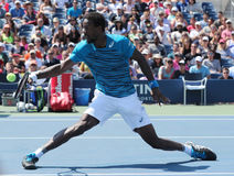 Professional tennis player Gael Monfis of France in action during US Open 2016 round 4 match at National Tennis Center Royalty Free Stock Images