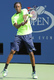 Professional tennis player Gael Monfis practices for US Open 2014 at Billie Jean King National Tennis Center Royalty Free Stock Photos