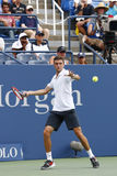 Professional tennis player Gilles Simon from France during round 4 match against US Open 2014 champion Marin Cilic Stock Images