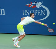 Professional tennis player Grigor Dimitrov of Bulgaria in action during US Open 2016 round 3 match Royalty Free Stock Photography