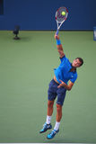 Professional tennis player Grigor Dimitrov from Bulgaria during US Open 2014 round 4 match Royalty Free Stock Photos