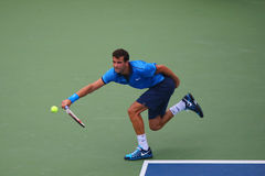 Professional tennis player Grigor Dimitrov from Bulgaria during US Open 2014 round 4 match Stock Photography
