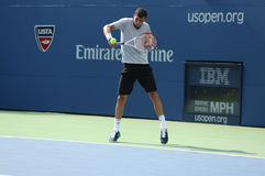 Professional tennis player Grigor Dimitrov practices for US Open 2013 at Louis Armstrong Stadium Stock Photos