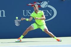 Professional tennis player Jack Sock of United States in action during his round four match at US Open 2016. NEW YORK - SEPTEMBER 4, 2016: Professional tennis stock photo