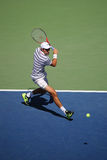 Professional tennis player Jeremy Chardy of France in action during his round four match at US Open 2015 Royalty Free Stock Images