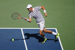 Professional tennis player Jeremy Chardy of France in action during his round four match at US Open 2015 Stock Photo