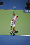Professional tennis player Jeremy Chardy of France in action during his round four match at US Open 2015 Stock Photography