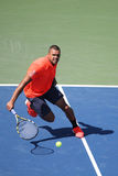 Professional tennis player Jo-Wilfried Tsonga of France in action during his round four match at US Open 2015 Stock Images