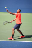 Professional tennis player Jo-Wilfried Tsonga of France in action during his round four match at US Open 2015 Stock Photo