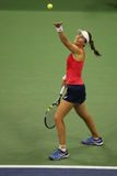 Professional tennis player Johanna Konta of Great Britain in action during her fourth round US Open 2015 Royalty Free Stock Image