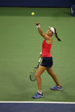 Professional tennis player Johanna Konta of Great Britain in action during her fourth round US Open 2015 match. NEW YORK - SEPTEMBER 7, 2015: Professional tennis Stock Photography