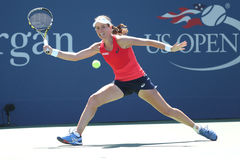 Professional tennis player Johanna Konta of Great Britain in action during her third round US Open 2015 match Royalty Free Stock Image