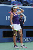 Professional tennis player Johanna Konta of Great Britain in action during her US Open 2016 round four match Stock Photos