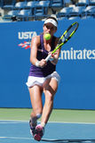 Professional tennis player Johanna Konta of Great Britain in action during her US Open 2016 round four match Royalty Free Stock Photography