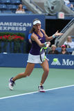 Professional tennis player Johanna Konta of Great Britain in action during her US Open 2016 round four match Stock Image