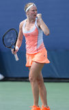 Professional tennis player Julia Glushko during third round match at US Open 2013 Stock Images