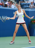 Professional tennis player Karolina Pliskova of Czech Republic in action during her round four match at US Open 2016 Royalty Free Stock Photo