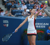 Professional tennis player Karolina Pliskova of Czech Republic in action during her round four match at US Open 2016 Royalty Free Stock Images
