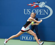 Professional tennis player Karolina Pliskova of Czech Republic in action during her round four match at US Open 2016 Stock Photography