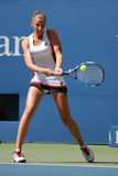 Professional tennis player Karolina Pliskova of Czech Republic in action during her round four match at US Open 2016 Stock Images