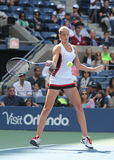 Professional tennis player Karolina Pliskova of Czech Republic in action during her round four match at US Open 2016 Royalty Free Stock Photography