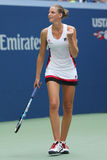 Professional tennis player Karolina Pliskova of Czech Republic celebrates victory after her round four match at US Open 2016 Royalty Free Stock Images